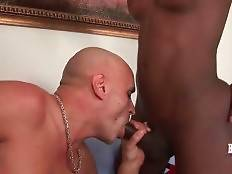 White dude gives his cute ebony t-girlfriend nice blowjob.