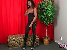 Playful t-ebony Trina is stripping and caressing herself.