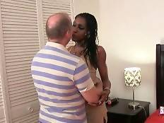 Sexy black t-girl Poursha and horny guy Jack fall in passion.