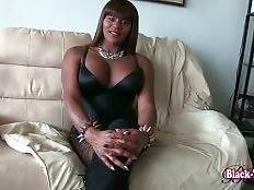 Awesome ebony tranny Foxy London is going to please you with her solo.