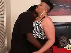 Horny tough black guy is caressing his heavy ebony t-girlfriend.