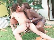 Black tranny is warming her white lover up with hot oral.