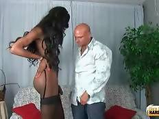 Horny white guy enjoys the taste of t-girlfriend`s erect brown dick.