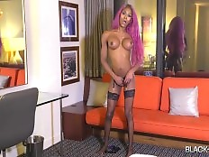 Following her hot appearance in our `Cumshot Thursday` series in June, beautiful Mya Badd is back! She looks smoking hot with colored hair while wearing some sexy lingerie! Mya is perfect, a slim body, long legs and a beautiful round booty! Watch her stri